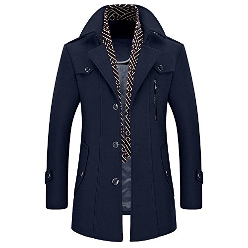 Navy Navy bavero Fit Casuale Blue di Slim lana amp;S amp;S Uomini rivestire Trenchcoats Giacca MEI qaw1PO