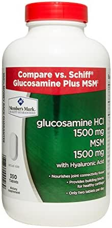 Member's Mark Glucosamine HCl 1500mg MSM 1500mg with Hyaluronic Acid (2 bottles (700 tablets)) by Sam's West
