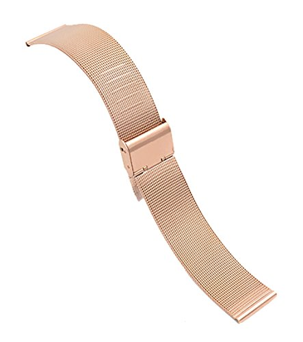 12mm Fantastic Pink Mesh Wristwatch Replacement Bracelet Band 304 Solid Stainless Steel with Hook Buckle Esq Rose Gold Wrist Watch