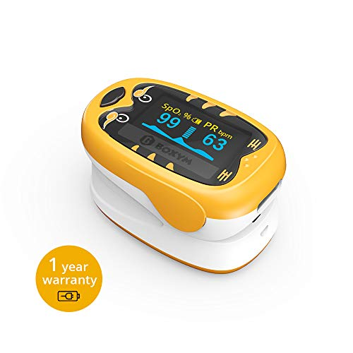 Children Fingertip Pulse Oximeter Pediatric Blood Oxygen Saturation Monitor with Rechargeable Lithium Battery for Child Kids Baby BOXYM oKids