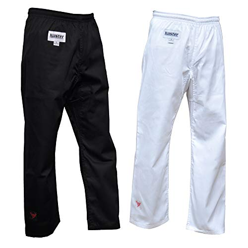(Karate/Taekwondo Pant middleweight White 8oz for Training Black & White 0 to 7 (White, 7))