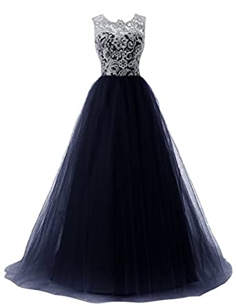 Dressystar Long Prom Dresses Lace Bridesmaid Ball Gowns with Buttons on Back