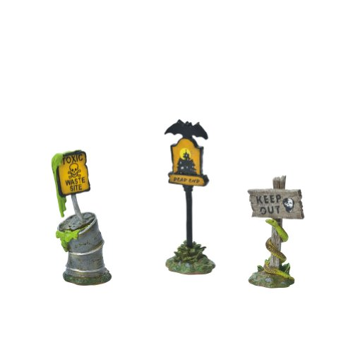 Department 56 Snow Village Halloween Scary Warning Signs Accessory Figurine (Set of 3)
