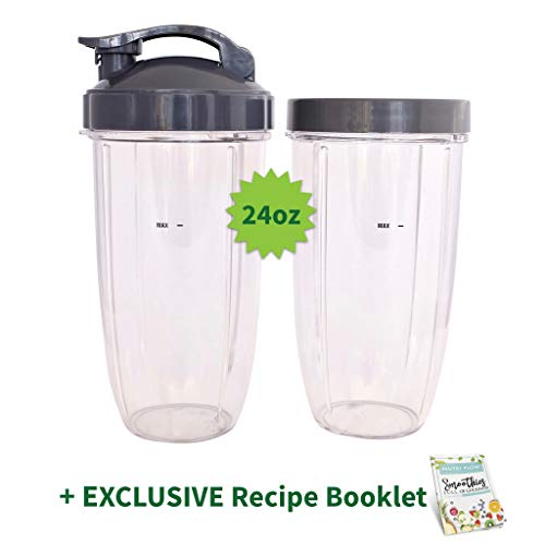 TWO Cups for NUTRIBULLET 24 oz. Tall with Flip Top & Lip Ring + EXCLUSIVE RECIPE Booklet by Nutri Flow - Colossal NutriBullet Cup for Nutri-Bullet 600 and Nutri Bullet 900 W