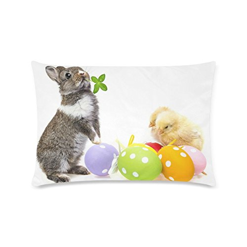 Happy Easter Day Bunny Chickens Eggs Rectangle Sofa Home Decorative Throw Pillow Case Cushion Cover Cotton Polyester Twin Side Printing 16 x 24 inches (Pillows Target Easter)