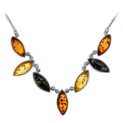 Multicolor Amber Sterling Silver Marquise-shaped Necklace 18