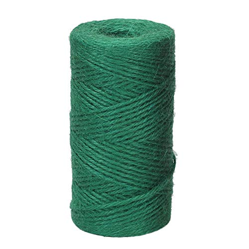 Green Colored Rope - Tenn Well Jute Twine String, 335 Feet 2mm Jute Rope Gift Twine Packing String for Craft Projects, Wrapping, Gardening Applications (Dark Green)