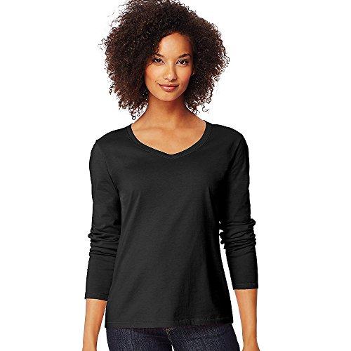 Hanes by Women's Long-Sleeve V-Neck T-Shirt_Ebony_L (Hanes Womens Short V-neck)