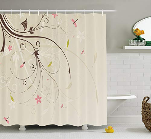 - Ambesonne Dragonfly Shower Curtain, Spring Field Bouquet Shabby Chic Abstract Blossom Greenland Graphic Art, Fabric Bathroom Decor Set with Hooks, 75 inches Long, Tan Brown