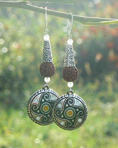 Rudraksha silver earrings with kolovrat swastika, Shiva Shakti symbolic jewelry, Hindu gift for her