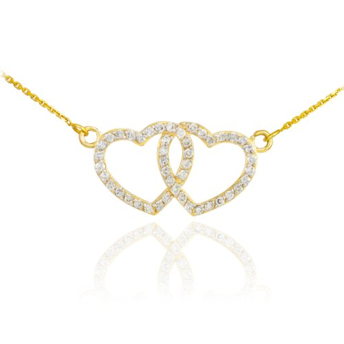 14k Yellow Gold Diamond Double Open Heart Necklace, ()