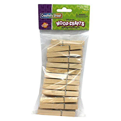 Creativity Street Spring Clothespins, Natural, Large, 2.75 Inches, 24 Per Pack, 12 Packs