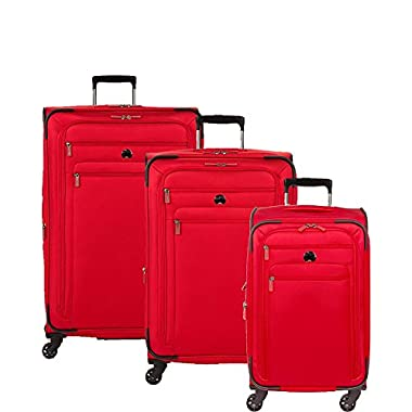 Delsey Luggage Helium Sky 2.0 3 Piece Softside Luggage Set 21 /25 /29 , Red
