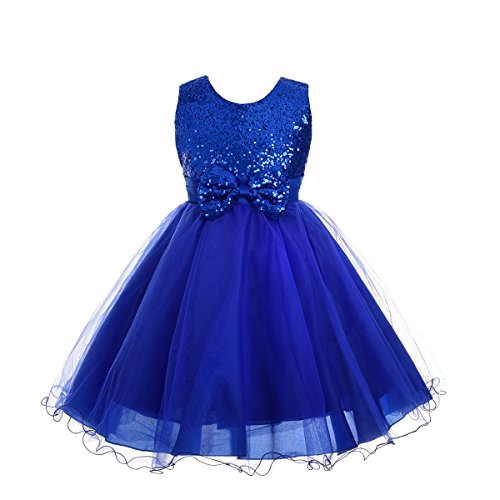 - Dressy Daisy Girls' Sequined Tulle Dress Wedding Flower Girl Pageant Formal Occasion Size 4 Royal Blue
