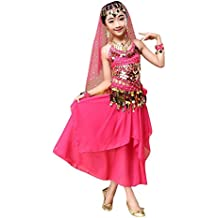 Kids' Costume Foutou Belly India Dance Outfit Clothes Hanging Neck Style Top+Skirt