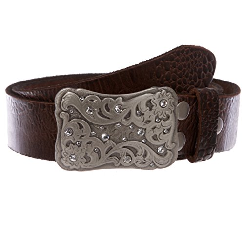 Women's Western Rhinestone Floral Embossed Solid Leather Belt, Brown | 32 (Vintage Belt Distressed)