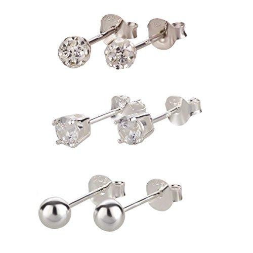 SL de Silver 3pares pendientes Juego de pendientes cristal y bola plata 925en caja de regalo