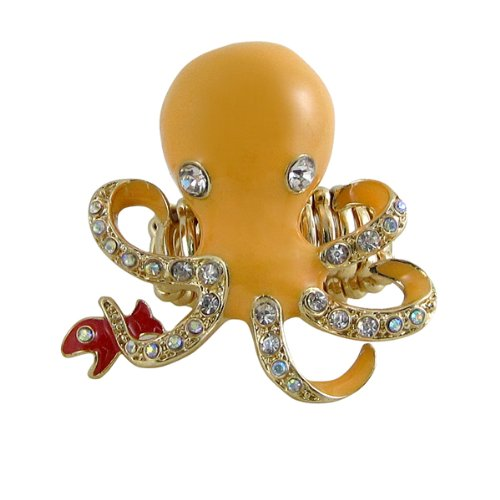 Oversize Octopus Ring Enameled Bejeweled with Crystals Stretch Band (pale (Enameled Bejeweled)