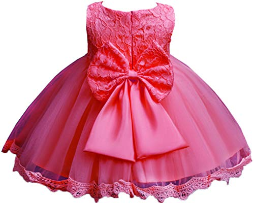 Toddler Baby Girls Lace Applique Christing Pageant Birthday Party Baptismal Dress,Toddler 6M,Coral