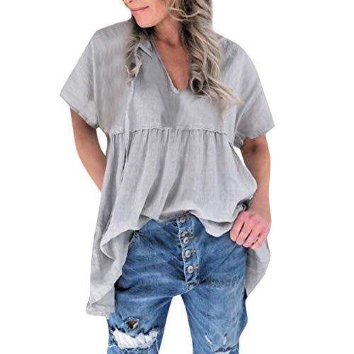 Mnowson Women's Solid Pleated V Neck Short Sleeve Ruffle Hem Baggy Tunic Blouse Tops Large Size Mini Dress Gray (Sox Replica Mini)