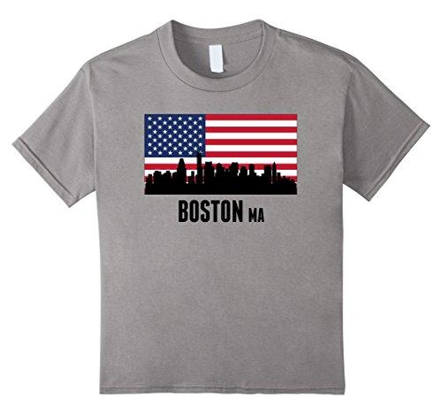 Kids Boston MA Downtown Cityscape Skyline American Flag T-Shirt 6 - Downtown Ma