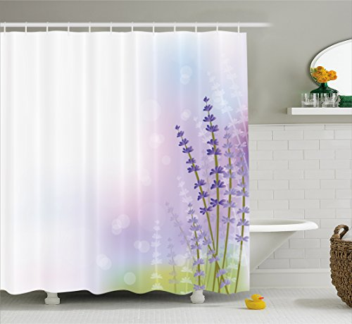 Lavender Shower Curtain by Ambesonne, Nature Inspired Abstract Backdrop with Gentle Pastel Lavender Stems, Fabric Bathroom Decor Set with Hooks, 75 Inches Long, Violet Olive Green Lilac (Olive Green Violet)