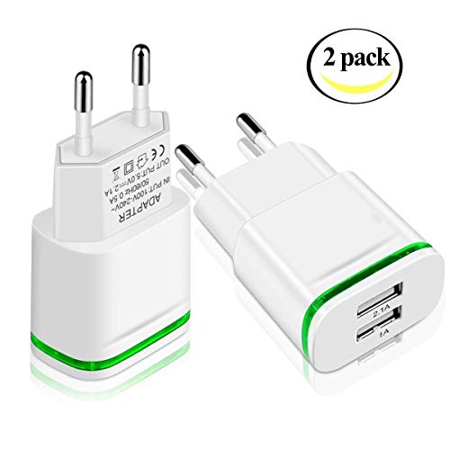 HEHUI European Plug Adapter, Max 2.1A 5V Dual European USB Wall Charger Power Adapter Charging Plug Compatible Phone X 8/7/6/6S Plus 5S,iPad,Samsung Galaxy S8 Plus S7/S6 Edge, HTC, LG and More