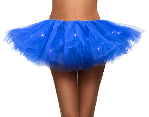 Simplicity Women's LED Light Up Neon Tulle Tutu Skirt Running Tutu,Royal -