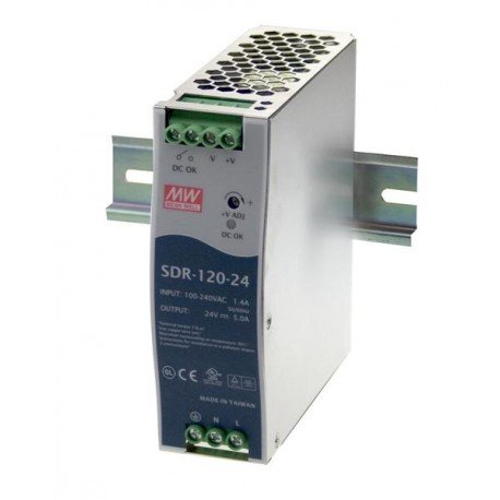 Mean Well SDR-120-48 AC to DC DIN-Rail Power Supply with PFC Function, 48VDC, 2.5A, 120W by MEAN WELL