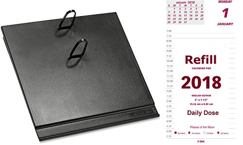 2018 Daily Calendar Set, Includes Daily Refill and Base (Black Plastic Calendar Holder with Metal Clips),  Compare to At-A-Glance E717-50 and E17-00 (Refill Calendar Plastic)