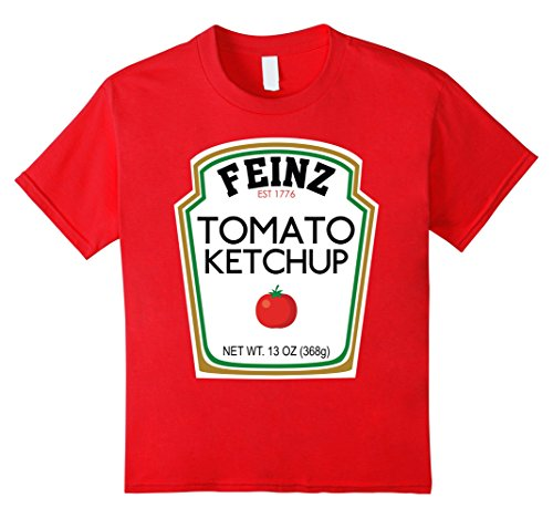 Halloween Costumes For 4 Friends (Kids Ketchup Matching Best Friend Halloween Costume T-Shirt 4 Red)