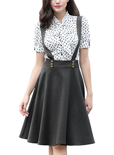 Miusol Women's Retro Suspender High Waist A-Line Big Swing Skirt
