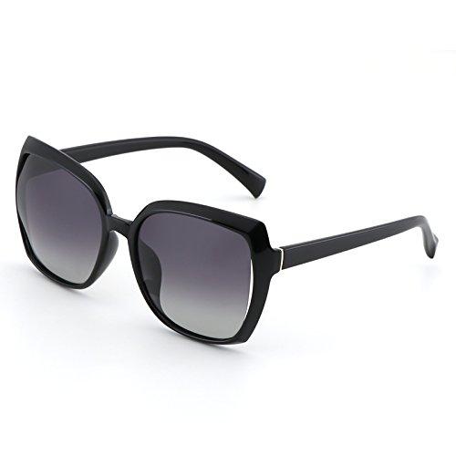 Black VVIIYJ polarizadas Super Film sol Grey de box femeninas negras graduadas Black Gafas Gafas Gafas esfera redonda film con Box Glasses gray sol de rtH6wrqR