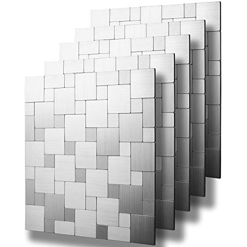 Metal Mosaic Tile - STICKGOO Peel and Stick Tile Backsplash, Kitchen Metal Backsplash, Self Adhesive Mosaic Tile (5 Pcs)