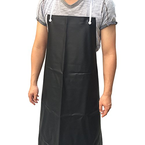 Vinyl Waterproof Apron Chemical Resistant Bibs Durable Ultra Lightweight Extra Long Full Length Dish Washing Aprons (WQ04)(Large Size, Black)
