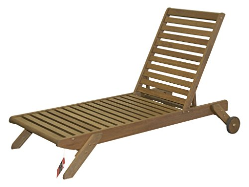 Timbo Mestra Hardwood Outdoor Patio Chaise Lounge, Chaise, Brown Hardwood Chaise Lounge