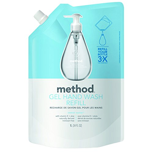 Method Naturally Derived Gel Hand Wash Refill, Sweet Water, 34 Ounce (Pack of 6)