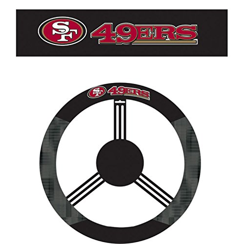 NFL San Francisco 49ers Steering Wheel Cover, Black