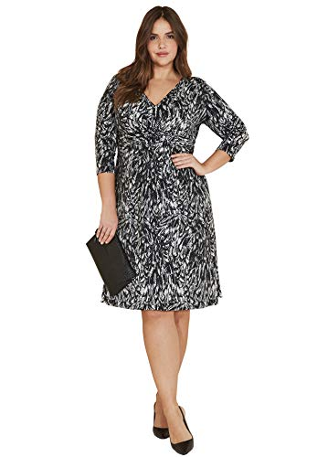 Ellos Women's Plus Size Knot Front Knit Dress - Black Feather Print, 10