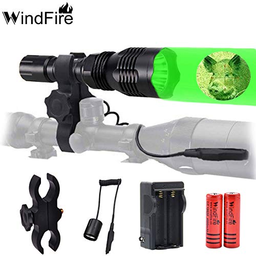 WINDFIRE WF802 Waterproof 350 Lumens 250 Yards Green Cree LED Coyote Hog Fox Predator Varmint Hunting Light Kit with Remote Pressure Switch & Scope/Bike Mount Holder & Spare 18650 Battery and Charger