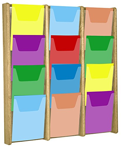 Wooden Mallet 12-Pocket Stance Wall Display, Dark red mahogany by Wooden Mallet