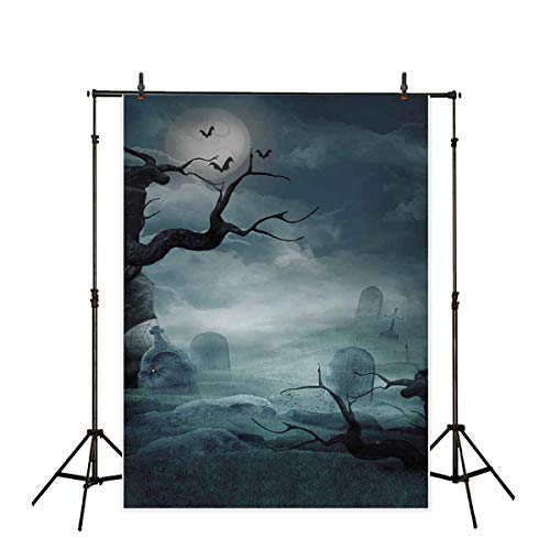 Allenjoy 5X7ft Vinyl Halloween Photo Backdrop Full Moon Night Cemetery Graveyard Trick or Treat Party Decorations Children Kids Photography Background Photoshoot Photo Studio