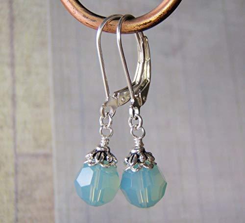 Pacific Opal Crystal Earrings Sterling Silver Ear Wires 8mm Swarovski Crystal