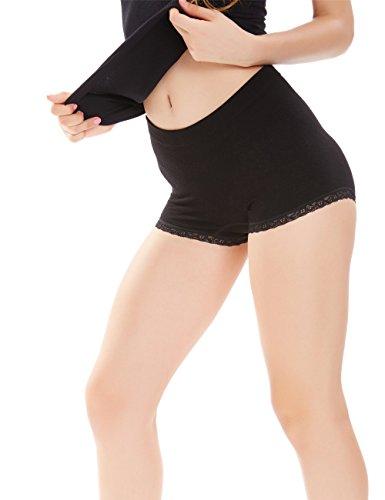 Icyzone Women's Seamless Stretch Microfiber Brief Lace details Tummy Control Boyshort Panties (One Size, Black)