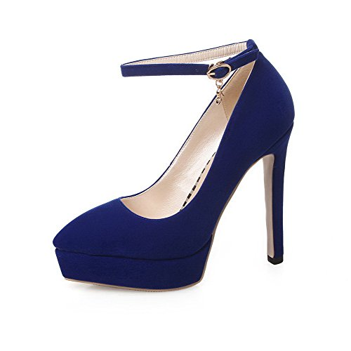 VogueZone009 Women's Solid Imitated Suede High-Heels Pointed Closed Toe Buckle Pumps-Shoes Blue OMIDqSkZ