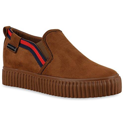 Stiefelparadies Damen Sneaker Wedges Plateau Slip-Ons Wildleder-Optik Schuhe Keilabsatz Plateauschuhe Glitzer Freizeitschuhe Flandell Hellbraun Rot Velours