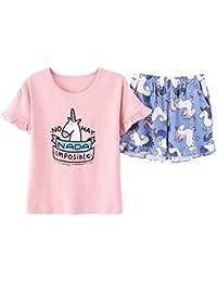Big Girls' Pretty Cartoon Horse Pajamas Cute Cotton Sleepwears Size 12 14 16