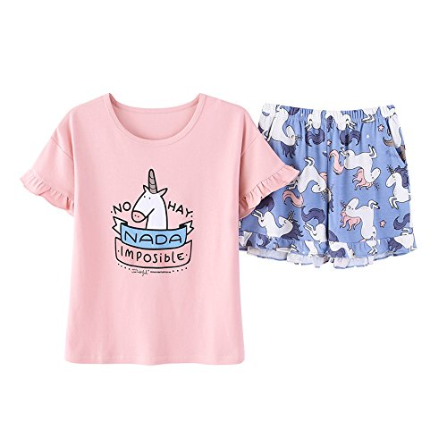 Vopmocld Big Girls' Pretty Cartoon Horse Pajamas Cute Cotton Sleepwears Size 12 14 16 ()