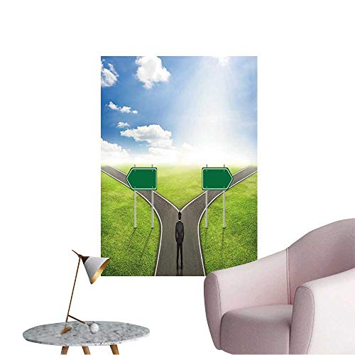 Vinyl Wall Stickers Businessman Concept,Blank Sign Post on Road The Correct Way. Perfectly Decorated,16