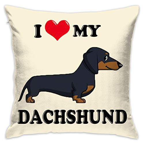 Yangkun Throw Pillow Covers I Love My Dachshund Dog 18 X 18 Inches Cushion Sham for Couch Bed Sofa Painted Colorful Geometric Print Daily Decorations for Home D¨¦cor Square Coastal Cushion Cover for $<!--$9.97-->